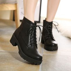 Monde - Block Heel Lace Up Short Boots