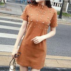 Honeydew - Faux Pearl Short Sleeve Knit Dress