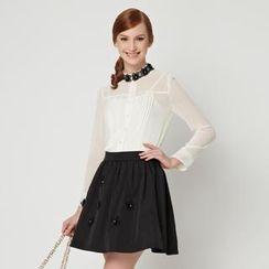 O.SA - Set: Pintuck Lace-Trim Blouse + Appliqué Skirt