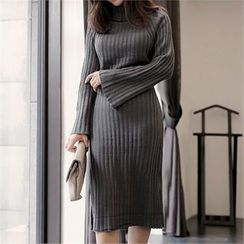 CHICLINE - Turtle-Neck Ribbed Knit Dress