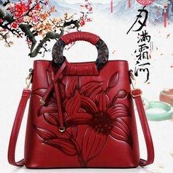Beloved Bags - Flower Embossed Faux Leather Handbag