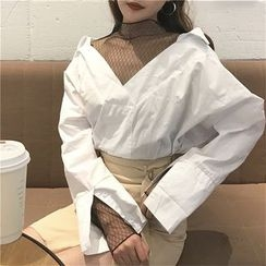 Octavia - Mesh Panel Mock Two-Piece Blouse