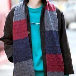 TOMONARI - Color-Block Long Knit Scarf