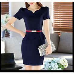 Princess Min - Short-Sleeve Peplum Formal Dress