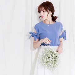 Tokyo Fashion - Mesh Insert Bow Short-Sleeve Top