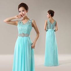 Efon - Embellished Sleeveless Evening Gown
