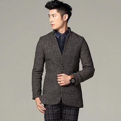 CRYX - Mandarin-Collar Herringbone Buttoned Jacket