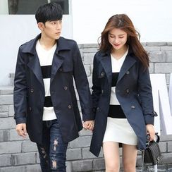 Igsoo - Couple Matching Double-breasted Trench Coat