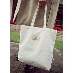 JOGUNSHOP - Lettering Corduroy Shopper Bag