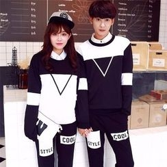 CASSY - Color-Block Couple Matching Pullover / Printed Pants