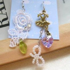 Fit-to-Kill - Dazzling golden ballet and lace flower with  Swarovski crytal earrings