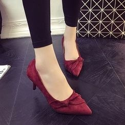 Zandy Shoes - Bow-Accent Faux-Suede Pumps