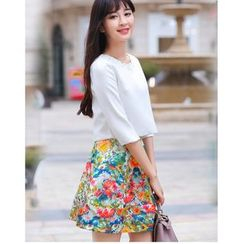 Yinaike - Set: Scallop Neck Elbow Sleeve Top + Printed A-Line Skirt