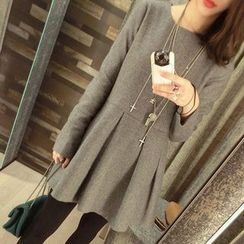 Fashion Street - Plain Long Sleeve Pleated Mini Dress