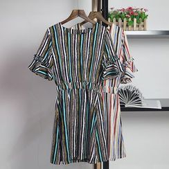 AIGIL - Pinstriped Bell-Sleeve Dress