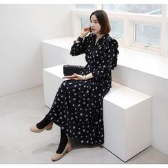 Miamasvin - Tie-Front Flower Pattern Long Dress