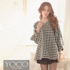 Tokyo Fashion - Long-Sleeve Houndstooth A-Line Top