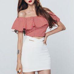 Aurora - Set: Ruffle Gingham Top + Miniskirt
