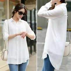 Jcstyle - Tab-Sleeve Long Chiffon Blouse