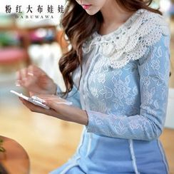 Dabuwawa - Long-Sleeve Knit Collar Lace Top