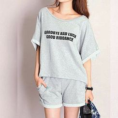Fashion Street - Set: Lettering Short-Sleeve Top + Sweat Shorts