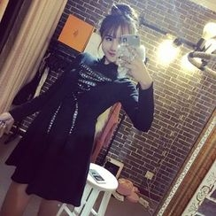 Jolly Club - Long-Sleeve Lace-Up A-Line Dress