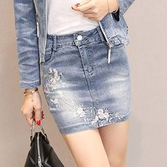 Romantica - Embroidered Denim Skirt