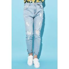 Ohkkage - Straight-Cut Distressed Jeans