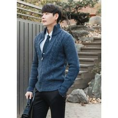 GERIO - Cable-Knit Zip-Up Cardigan