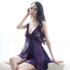 Sophine - Set: Lace-Panel Nightdress +Thongs