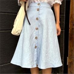 QNIGIRLS - Button-Front A-Line Linen Skirt