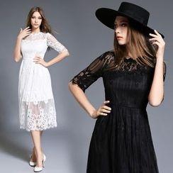 Diosa - Elbow-Sleeve Lace Panel Midi Dress