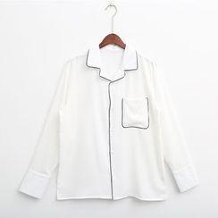 Mr. Cai - Long-Sleeve Contrast-Trim Shirt