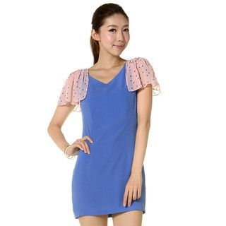YesStyle Z - Dotted Sleeve Shift Dress