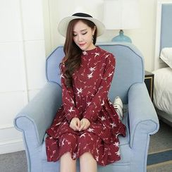 Hearty Bliss - 孕婦印花長袖雪紡連衣裙