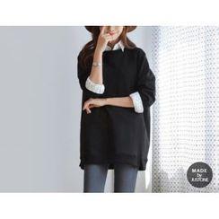 JUSTONE - Slit-Hem Brushed-Fleece Lined Sweatshirt