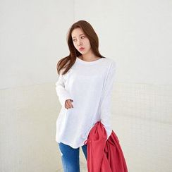 Seoul Fashion - Round-Neck Long-Sleeve Top