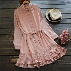 YOYO - Long-Sleeve Pleated Chiffon Dress