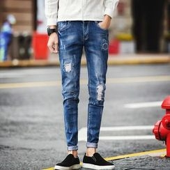 Besto - 做舊窄身牛仔褲