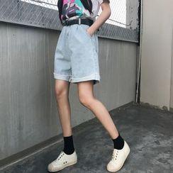 Cattie - Washed Wide Leg Denim Shorts
