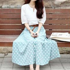 Dear Nancy - Set: Elbow-Sleeve Top + Dotted Long Skirt