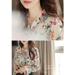 MyFiona - Tie-Neck Floral Print Chiffon Top