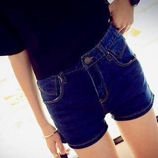 MISS BIG - High-Waist Denim Shorts