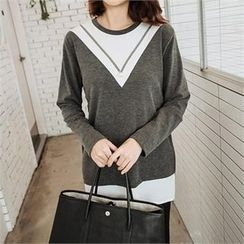 JOAMOM - Faux-Pearl Color-Block T-Shirt