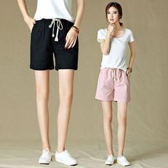 GLIT - Drawstring  Linen Shorts
