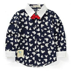 WellKids - Kids Contrast-Trim Printed Bow-Tie Shirt