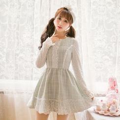 糖果雨 - 可拆披肩蕾丝拼接长袖连衣裙