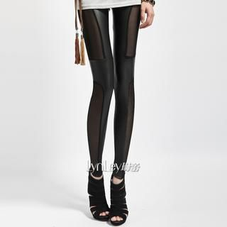 Lynley - High-Waist Faux-Leather Mesh-Panel Leggings
