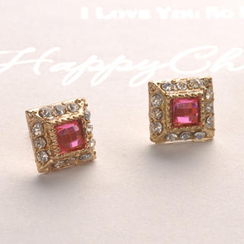 Fit-to-Kill - Crystal Square Earrings - Pink