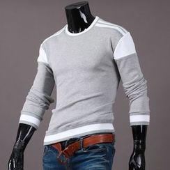 Seoul Homme - Contrast-Trim Round-Neck T-Shirt